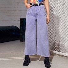 Jeans mit hoher Taille, ungesaeumtem Saum und breitem Beinschnitt ohne Guertel