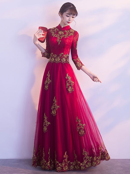Milanoo Red Evening Dresses Stand Collar Long Sleeve Floor Length Formal Dress