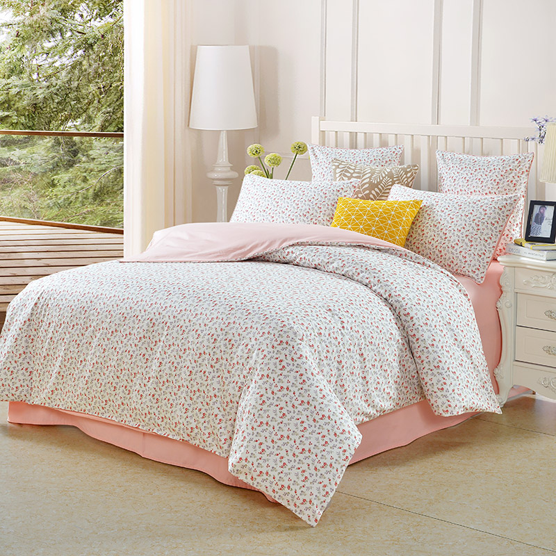 Floral Reactive Printing Duvet Cover 2 Pillowcases Set Three-Piece Set Polyester Bedding Sets