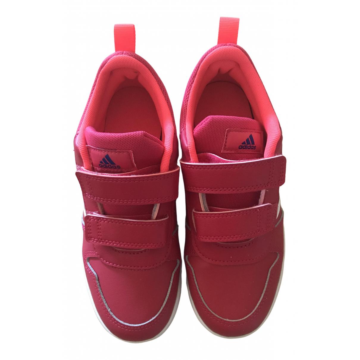 Adidas - Baskets   pour enfant en cuir - rouge