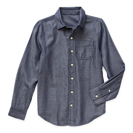Arizona Little & Big Boys Long Sleeve Button-Down Shirt, X-small (6-7) , Blue