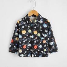 Hemd mit Galaxie Muster und Taschen vorn