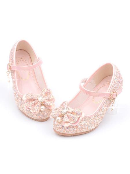 Milanoo Zapatos de niña de las flores Zapatos de fiesta de lazo con punta redonda con lentejuelas rosas para niños