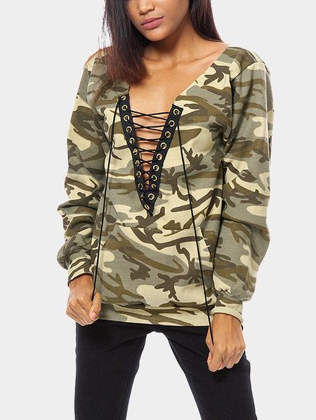 Yoins Light Camouflage Pattern Lace-up Design Sweatshirt