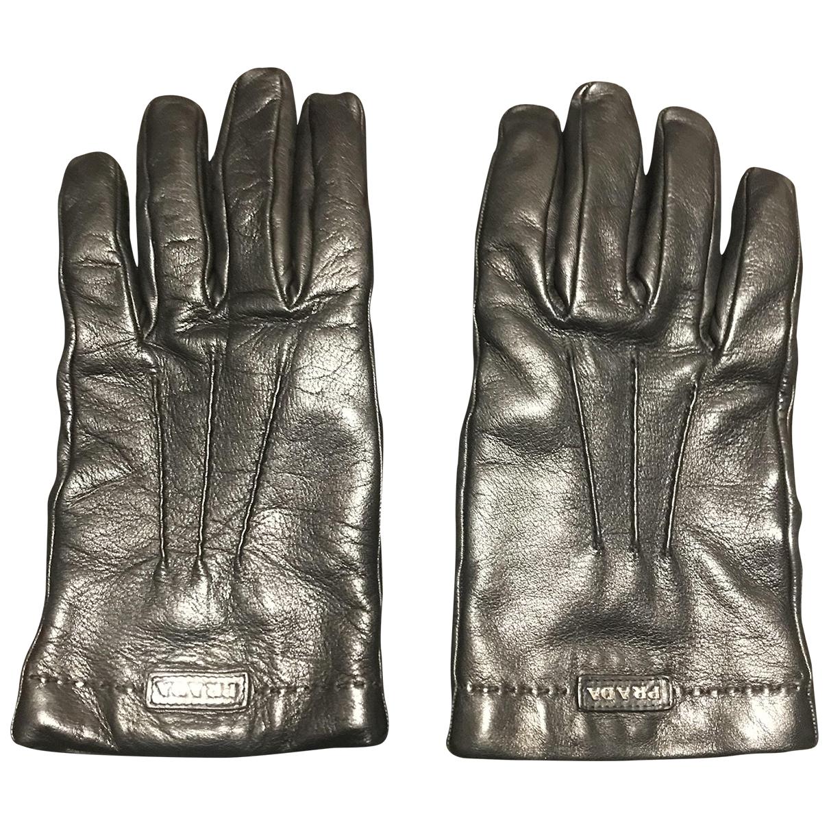 Prada N Brown Leather Gloves for Men M International