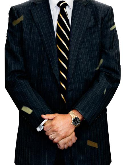 Men's 2 Button Single Breasted Notch Lapel Charcoal Pinstripe Suit