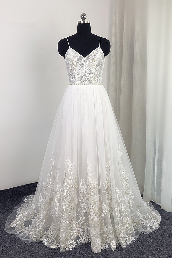 BMbridal Elegant Spaghetti Straps Tulle Lace Wedding Dress V-Neck Appliques See Through Top Bridal Gowns