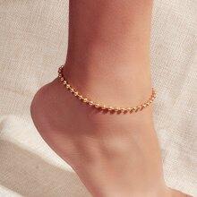Einfarbige Fusskette mit Perlen Dekor