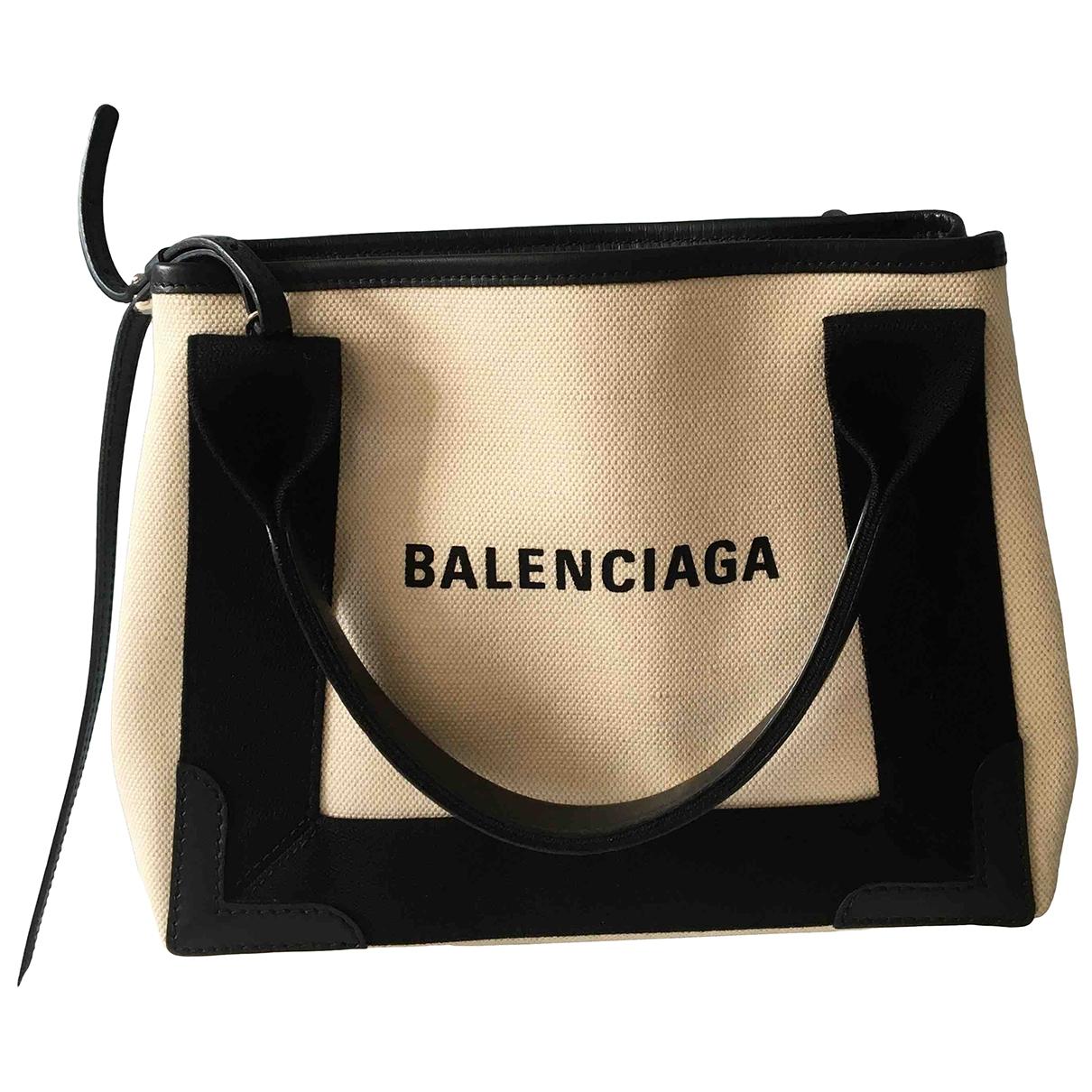 Balenciaga - Sac a main Navy cabas pour femme en toile - blanc