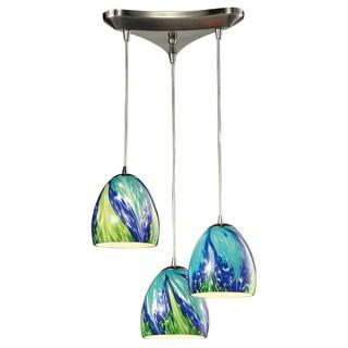Elk Lighting Colorwave 3-light Satin Nickel Glass Chandelier (Colorwave Tropics Glass)