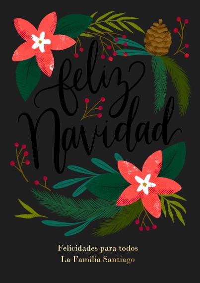 Tarjetas de Navidad Set of 20, Premium 5x7 Foil Card, Card & Stationery -FloralNavidad