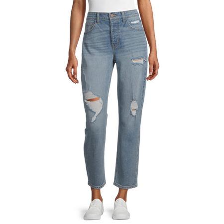 Rewind - Juniors Womens High Rise Straight Leg Jean, 9 , Blue