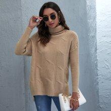 Pullover mit Stehkragen, sehr tief angesetzter Schulterpartie und Stufen