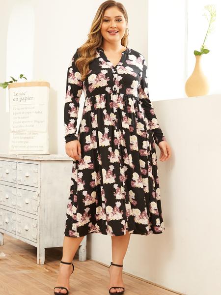 YOINS Plus Size Black Random Floral Print Long Sleeves Casual Dress