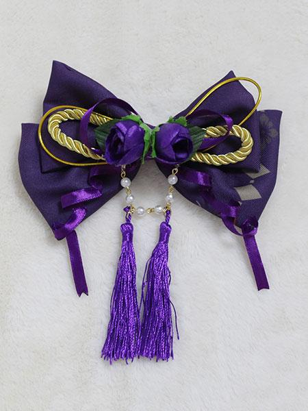 Milanoo Kimono Lolita Headgear Neverland Print Tassels Flowers Purple Lolita Headband