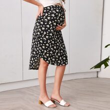 Maternity Daisy Floral Print Curved Hem Skirt