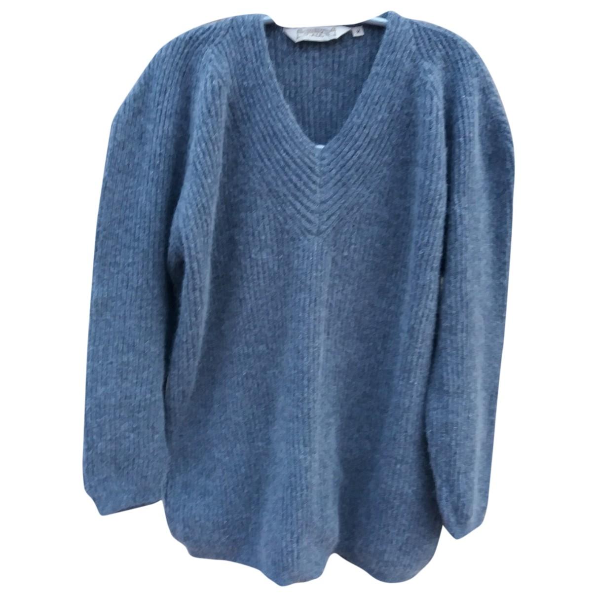 Non Signé / Unsigned Manche ballon Grey Wool Knitwear for Women M International