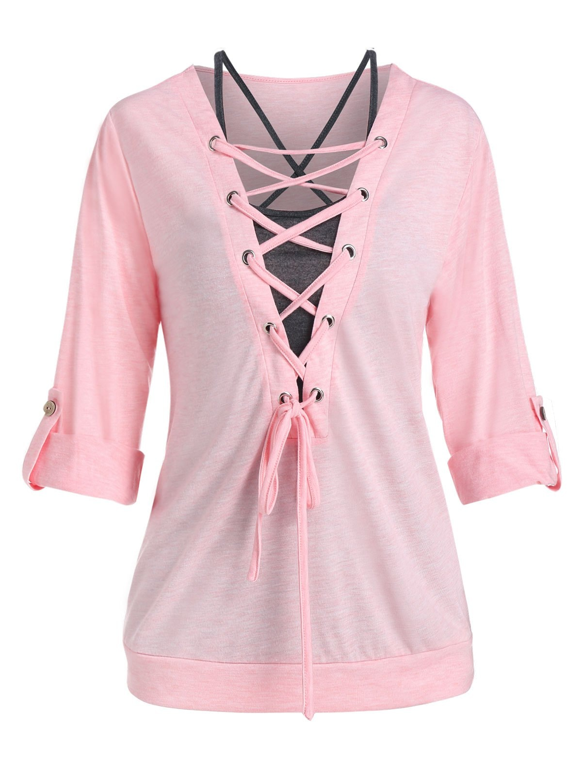 Roll Tab Sleeve Lace Up T Shirt and Crisscross Tank Top Set