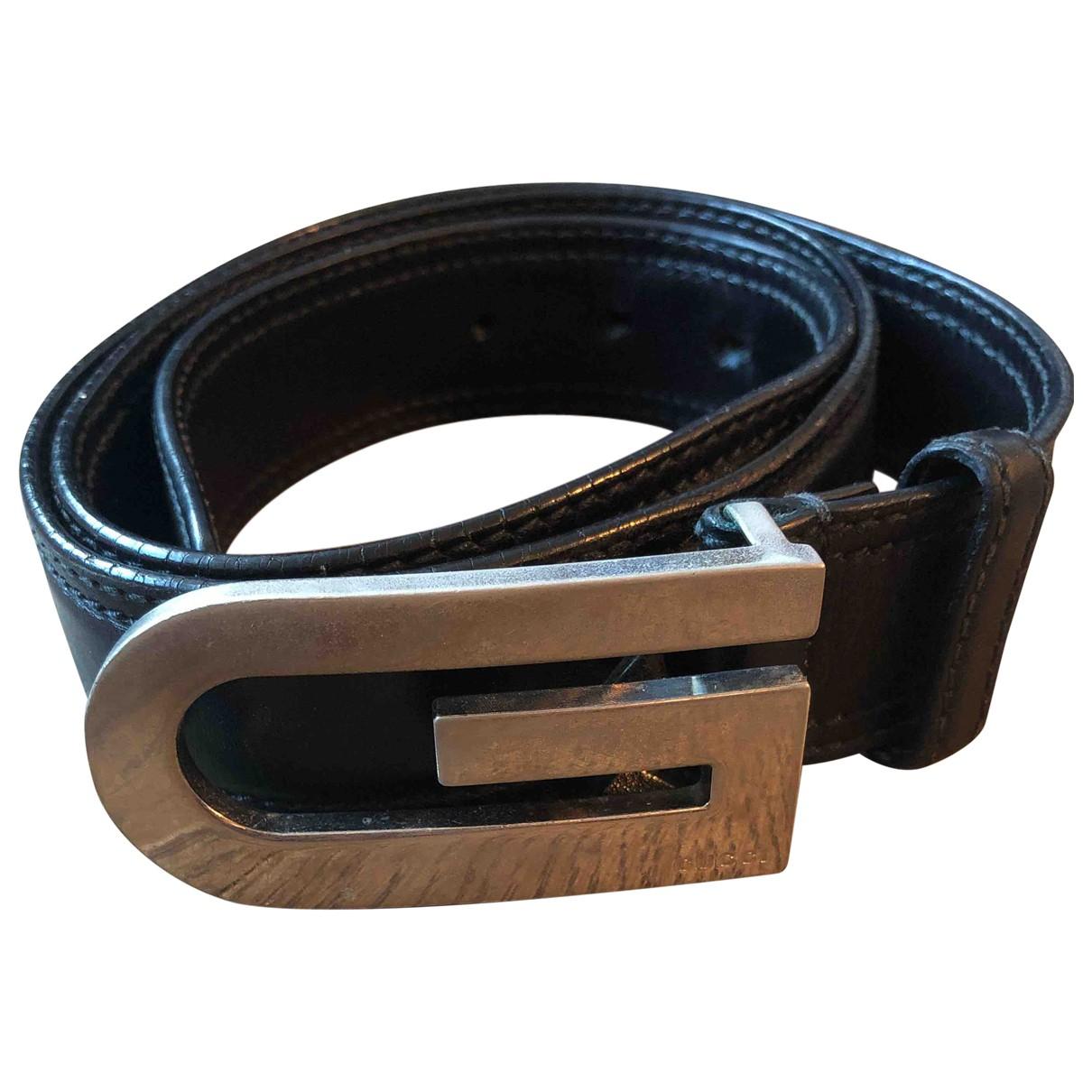 Gucci \N Black Leather belt for Men 100 cm