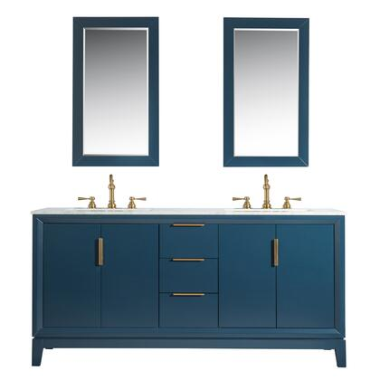 Elizabeth Collection 72 Double Sink Vanity with 3 Drawers  4 Doors  2 Shelves  Ceramic Sink  Carrara White Marble Countertop  Matching Mirrors and