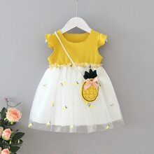 Toddler Girls Contrast Embroidery Mesh A-line Dress With Bag