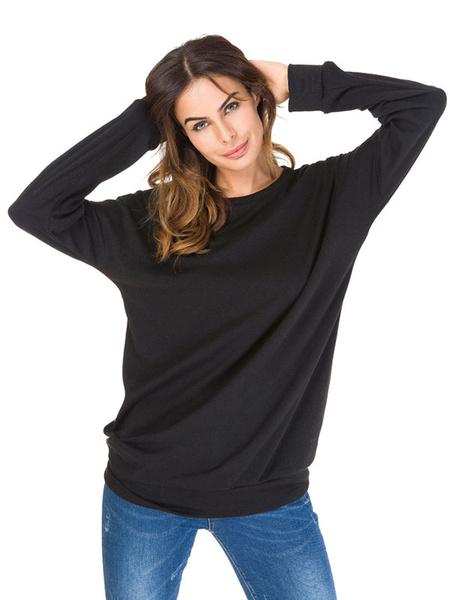 Milanoo Camisetas de manga larga Camiseta negra de rayas con cuello joya para mujer