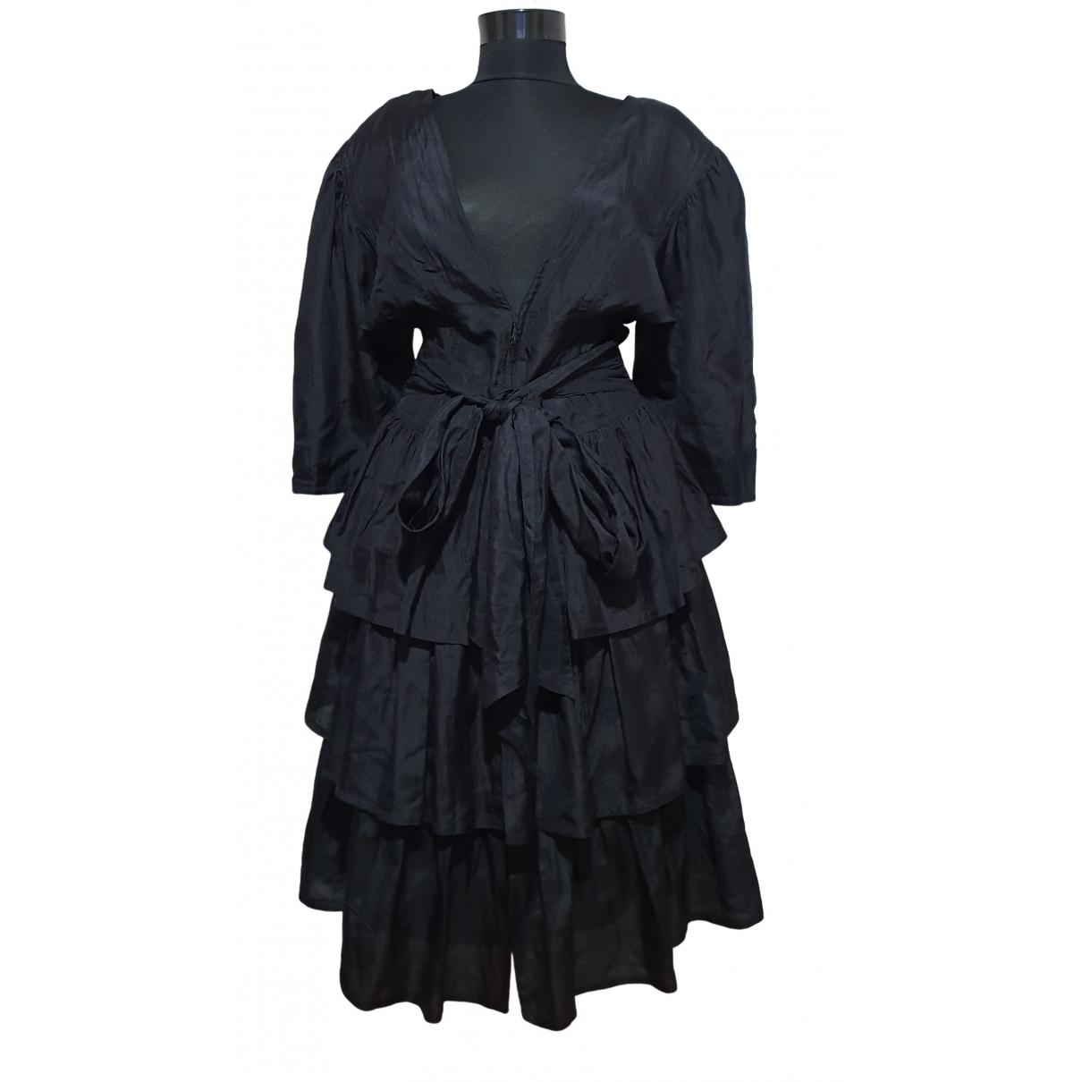 Jil Sander \N Kleid in  Schwarz Seide