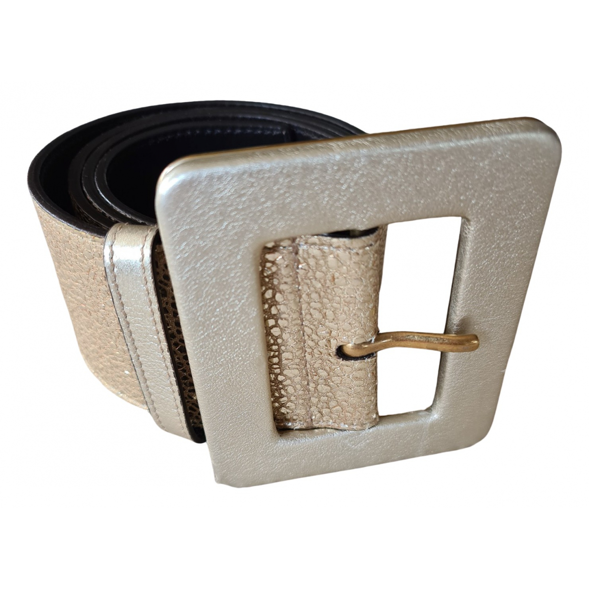 Yves Saint Laurent \N Gold Leather belt for Women 85 cm