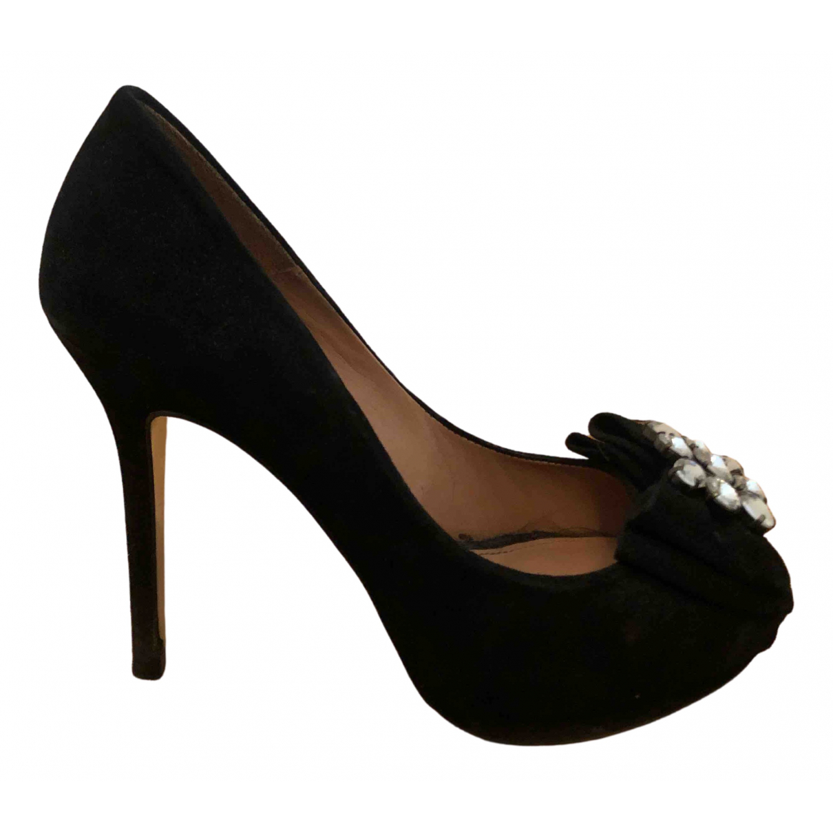 Uterque N Black Suede Heels for Women 38 EU