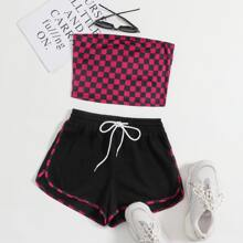 Crop Tube Top mit Karo Muster und Delphin Shorts Set