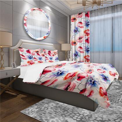 BED18822-Q Designart 'Contempoary Colorful Flowers' Modern & Contemporary Duvet Cover