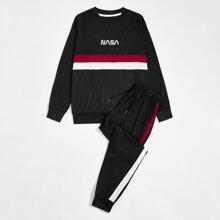 Pullover & Jogginghose mit Buchstaben Grafik und Streifen
