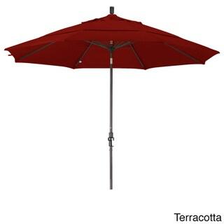 California Umbrella 11' Rd. Aluminum Market Umbrella, Crank Lift, Collar Tilt, Dbl Wind Vent, Bronze Finish, Sunbrella Fabric (Terracotta)