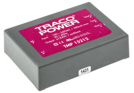 TRACOPOWER , 15W Embedded Switch Mode Power Supply SMPS, ±12V dc, Encapsulated