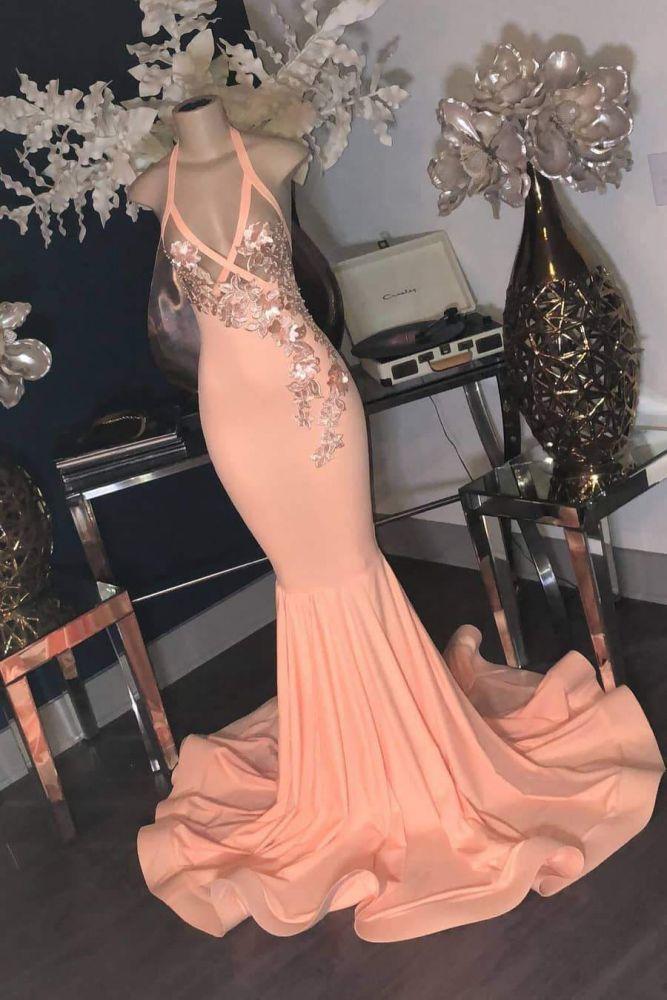 Pink Floral Appliques V-neck Halter Floor Length Mermaid Prom Gowns