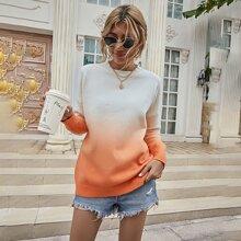 Pullover mit Farbverlauf und sehr tief angesetzter Schulterpartie