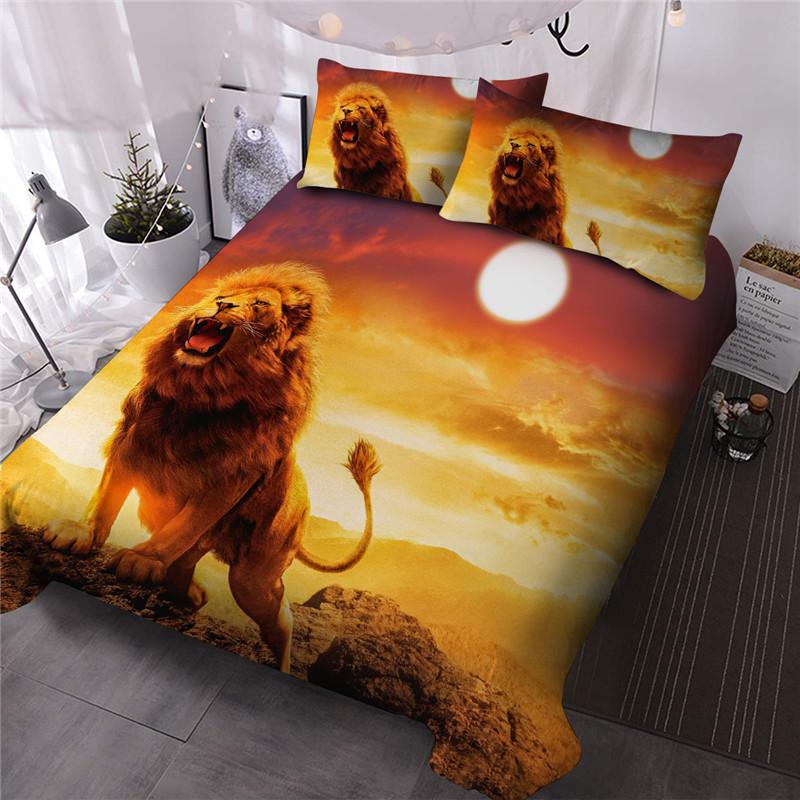 Roaring Lion Comforter Set Reactive Printing Hand Wash Three-Piece Set Polyester Bedding Sets