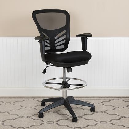 HL-0001-1CBLACK-GG Hl-0001-1Cblack-Gg Mid-Back Black Mesh Ergonomic Drafting Chair With Adjustable Chrome Foot Ring  Adjustable Arms And Black