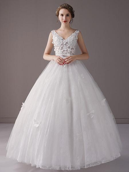 Milanoo Vestidos de novia de la princesa Ball Vestido de la cintura de imperio de la cintura de Ivory con cuello en V Arcos vestido de novia de Tul