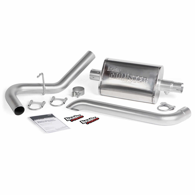 Monster Exhaust System Single Exit Turndown 87-01 Jeep 4.0L Cherokee Banks Power 51360