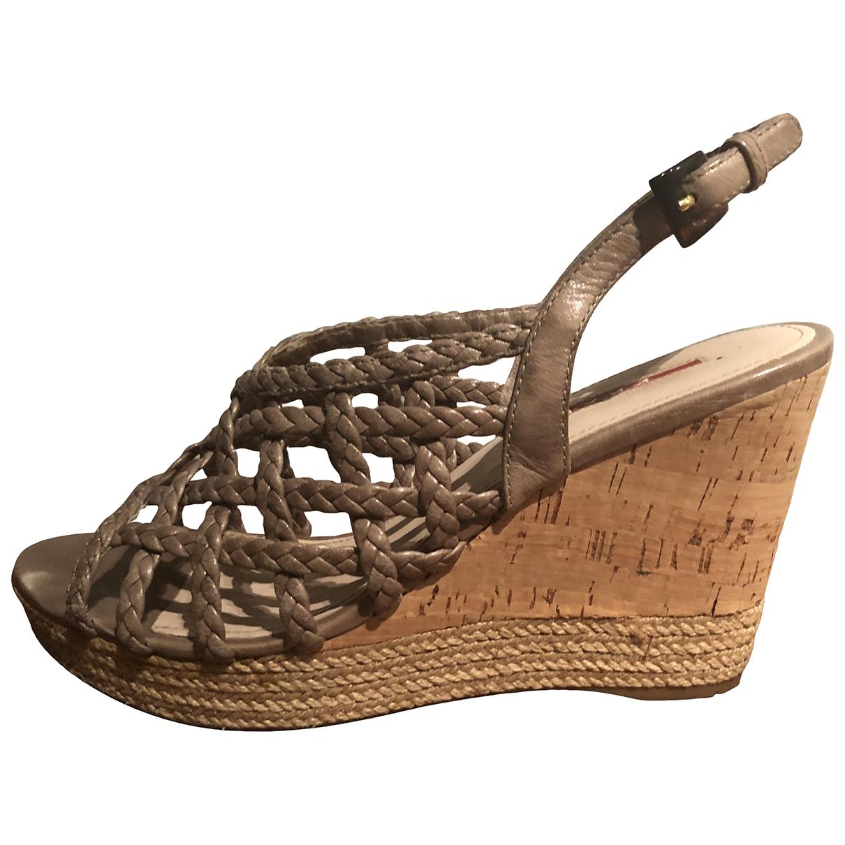 Prada \N Khaki Leather Sandals for Women 39 EU