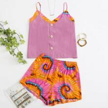 Verschiedenfarbig Knopfen vorn Batik  Laessig Grosse Grossen - Schlafanzug Sets