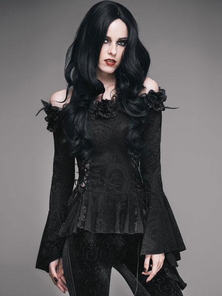 Milanoo Halloweem Gothic Costume Women Long Sleeve Off Shoulder Jacquard Top