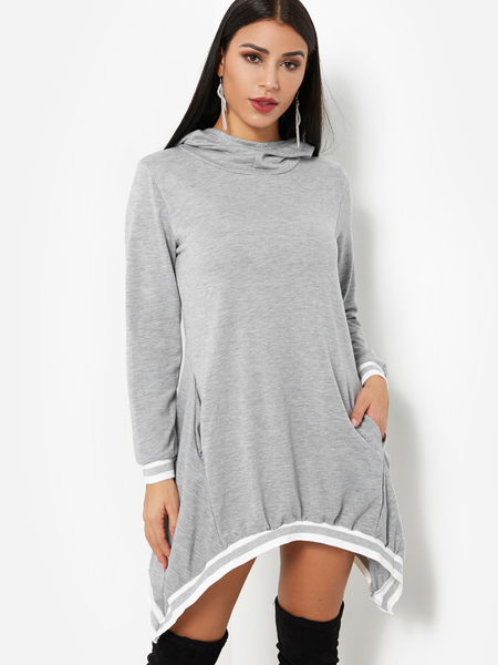 Yoins Grey Pullover Hooded Design Irregular Hem Sweatshirt Dress