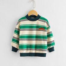 Sweatshirt mit Farbblock und Streifen & Buchstaben Grafik