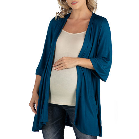 24/7 Comfort Apparel Open Front Elbow Length Sleeve Cardigan, 2x , Blue