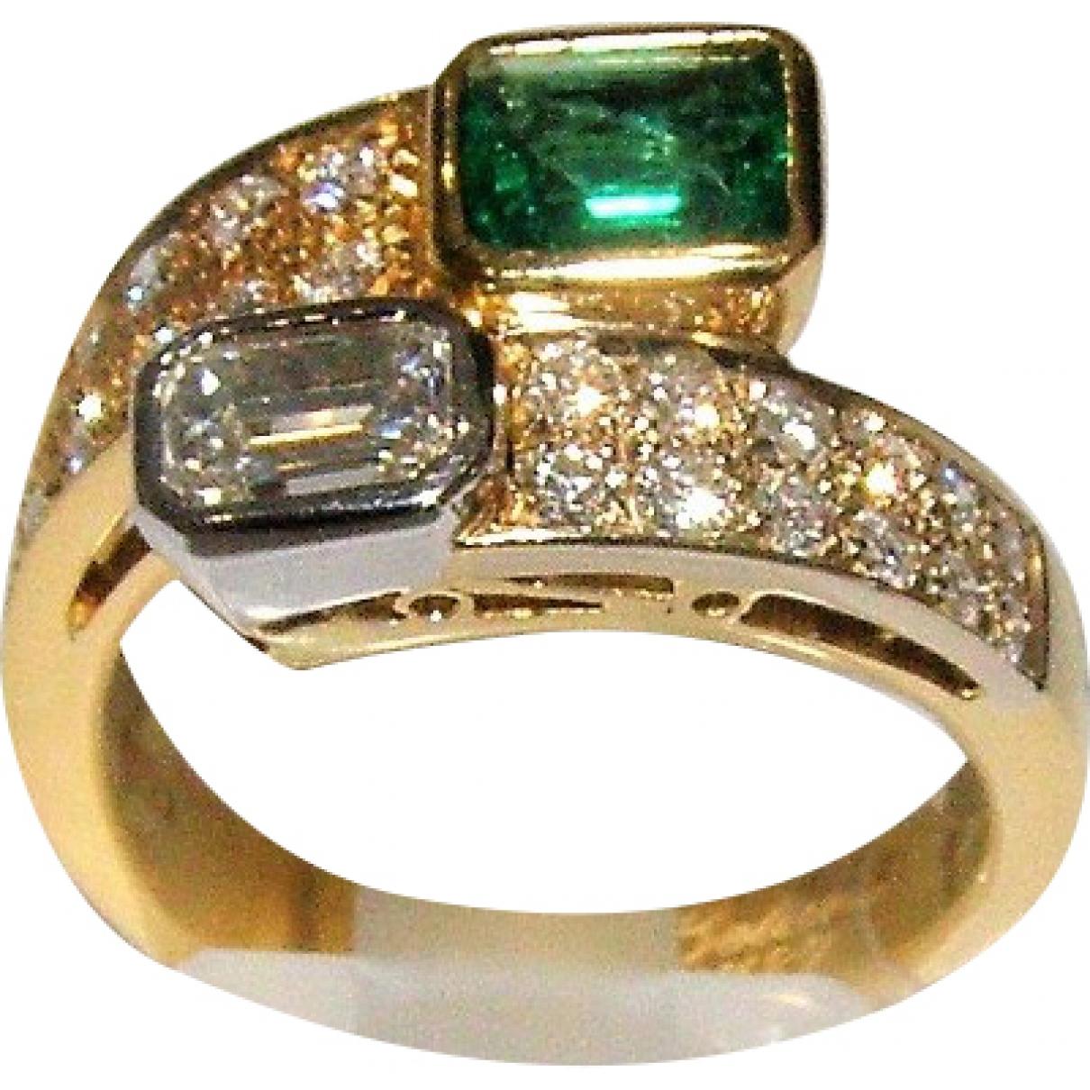 Non Signe / Unsigned Emeraude Ring in  Gruen Gelbgold