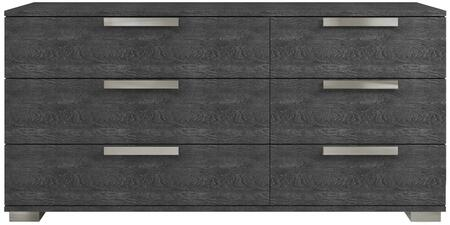 Hampton Collection TC-9004-DR-G 68 Dresser with 6 Drawers  Modern Style  Commercial Grade  Stainless Steel Legs and Birch Lacquer Materials in Grey
