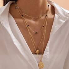 1pc Badge Charm Multi Layered Necklace