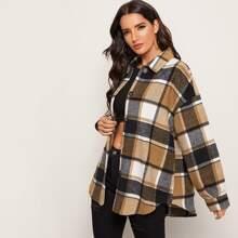 Einreihiger Mantel mit gebogenem Saum und Karo Muster